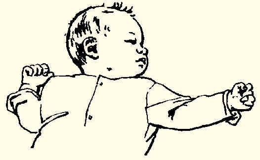 চিৎ করে শোয়ালে হাত পা ছড়িয়ে দেয়ার প্রতিক্রিয়া